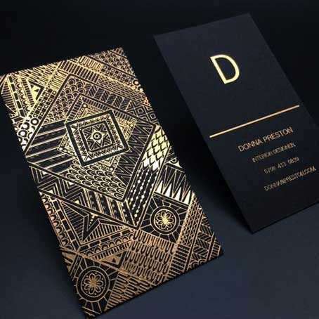 Golden Printing Business Cards in Dubai